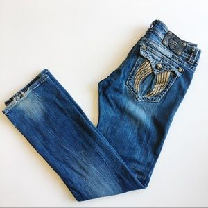 Miss Me Buckle angel wing straight leg jeans